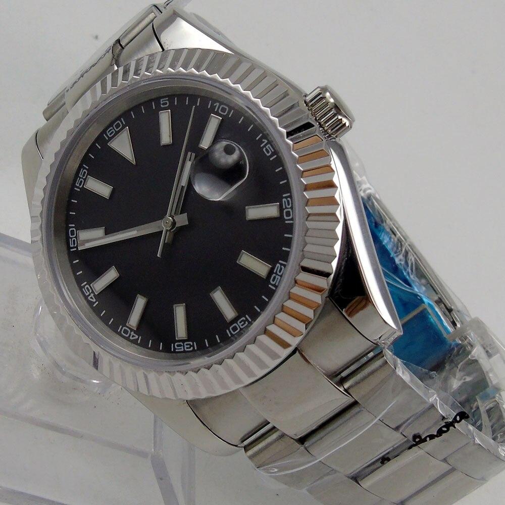 Parnis watch 40mm Black dial Luminous Automatic Self-Wind movement Men's watch 24 relogio masculino 40mm parnis white dial vintage automatic movement mens watch p25