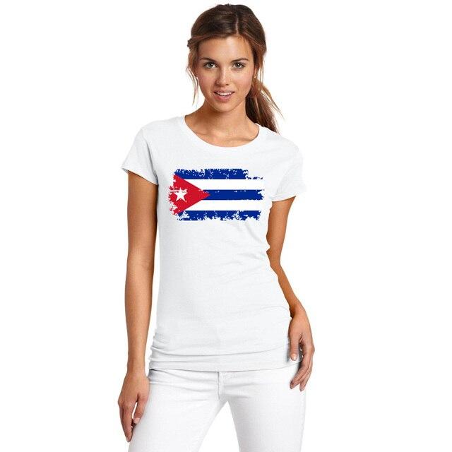 BLWHSA Delle Donne Cuba Nostalgico bandiera T shirt O manica Corta la Cuba  Camisa Feminina Sociale ab6474d95a74