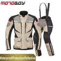 Бесплатная Доставка 1 компл. зима Для мужчин гонки костюм Водонепроницаемый теплый ветрозащитный Светоотражающие CE броня мотоцикл куртка и