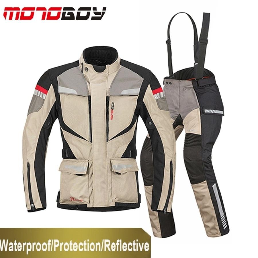 Free shipping 1set Winter Men s Racing Suit Waterproof Warm Windproof Reflective CE Armor Motorbike Motorcycle