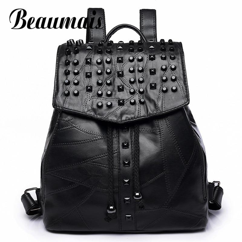 Beaumais Genuine Leather Luxury Women Backpack Travel School Bags For Teenage Girls Backpack Rivet Sheepskin Backpack DF0230