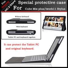 Business case pu del soporte de cuero para el cubo de mezcla más 10.6 pulgadas tablet pc, teclado moda funda protectora para el cubo iwork11 stylus