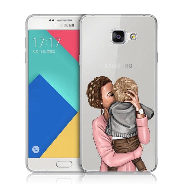 Czarne brązowe włosy dziecko mama dziewczyna królowa krzemu pokrywa dla Samsung Galaxy A3 A5 A7 2016 2017 A9 A6 A8 Plus A7 2018 A50 miękkie etui tpu