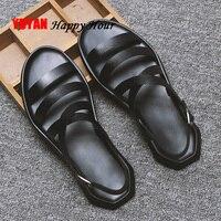 Mens Sandals Leather Men Summer Shoes 2019 Flat Beach Sandals Male Black White Shoes KA1151