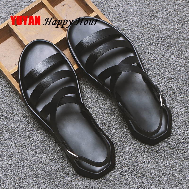 Mens Sandals Leather Men Summer Shoes 2019 Flat Beach Sandals Male Black White Shoes KA1151