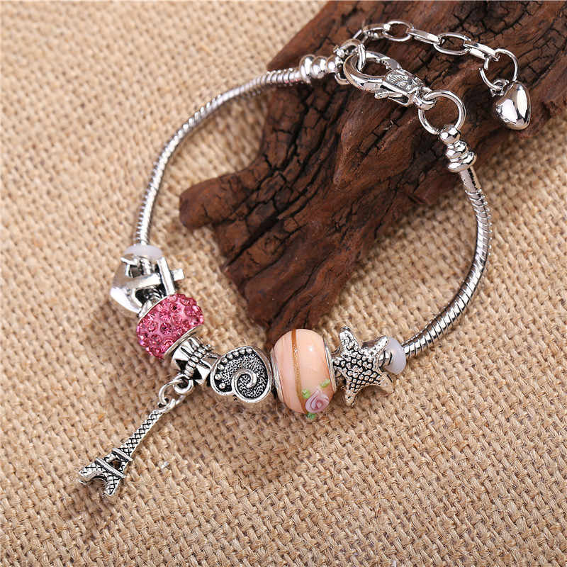New Fashion Silver Plated Bracelet Eiffel Tower Pendant Pink Crystal Charm Beads Fit Women DIY Bracelets Jewelry