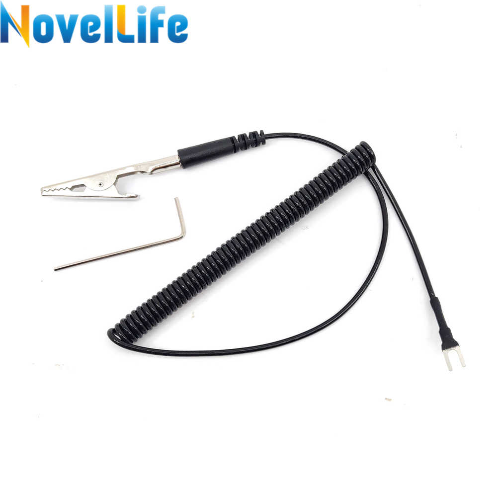 1.5 Meter Anti static Spring Grounding Wire Clamp Earth Cable Alligator Clip to U Type Terminal for TS80 TS100 Soldering Iron