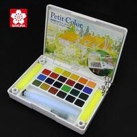 Sakura 24 30 Colors Professional Solid Watercolor Paints Set Paint Box Water Brush Petit Watercolor Painting