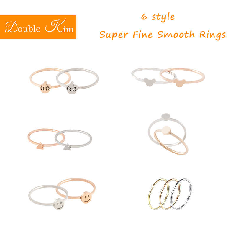 Super Fine Smooth Rings Titanium Stainless Steel Material Sample Style Fashion Women Jewelry Wedding Engagement Party Gift