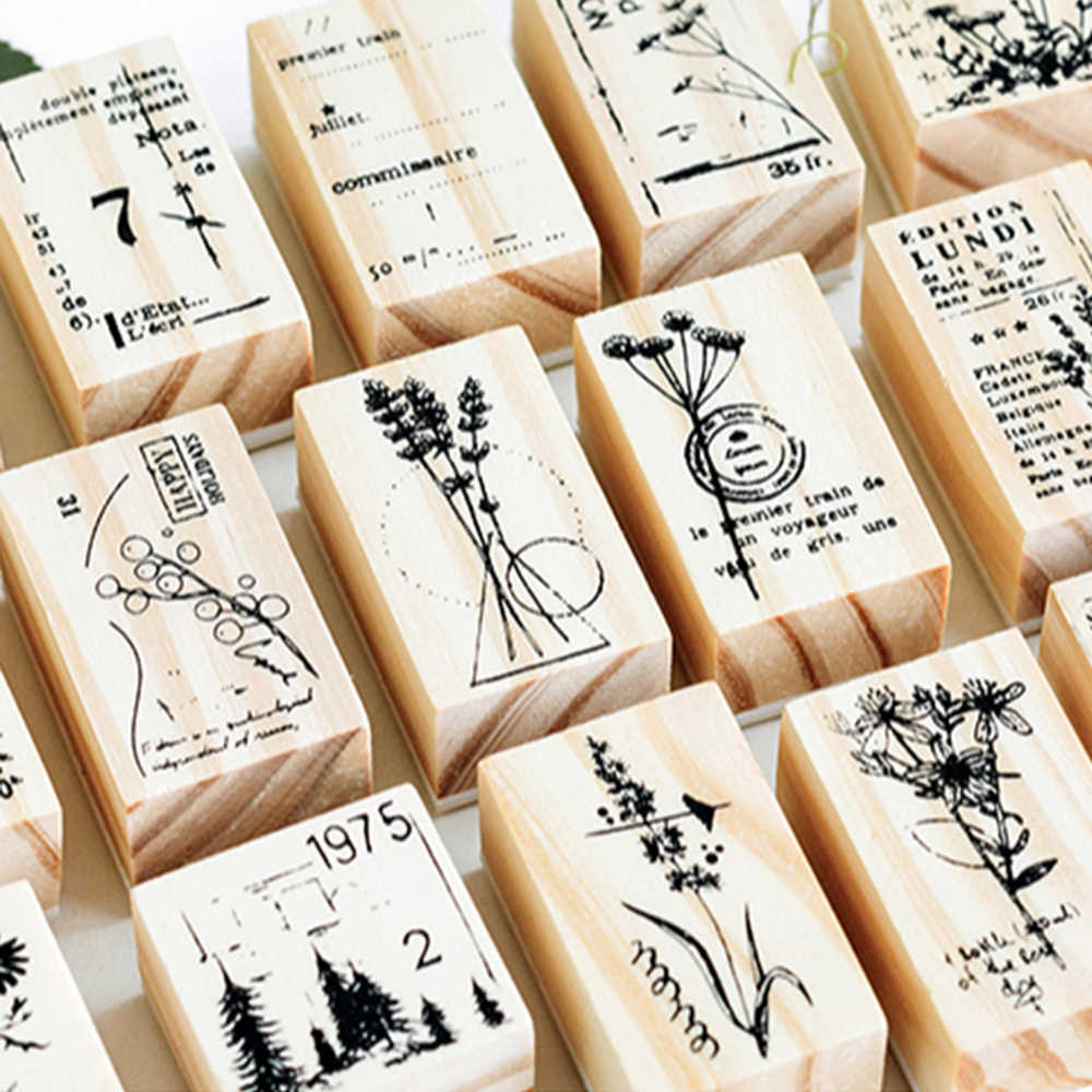 1PC DIY Crafts Flower Plant Vintage Wooden Rubber Stamp  for Scrapbooking Stationery Painting Cards Decor