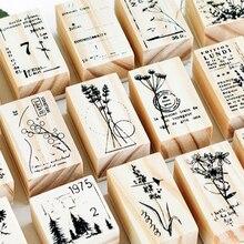1 unidad DIY Flor de manualidades sello de goma de madera Vintage para álbum de recortes papelería tarjetas de pintura decoración del hogar de la boda