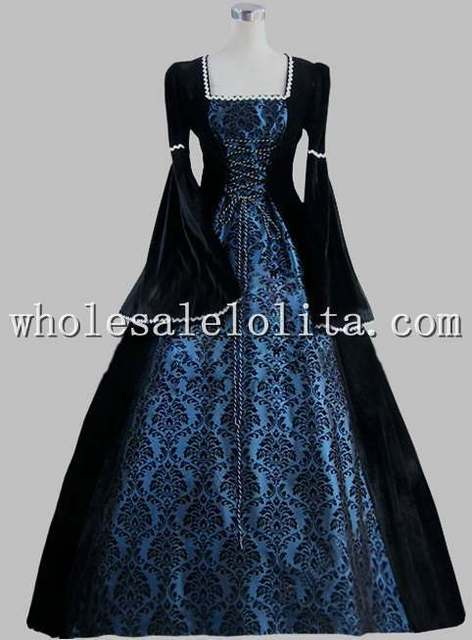 19th Century Gothic Black and Blue Print Elegant Victorian Ball Gown Historical Halloween Costume & 19th Century Gothic Black and Blue Print Elegant Victorian Ball Gown ...