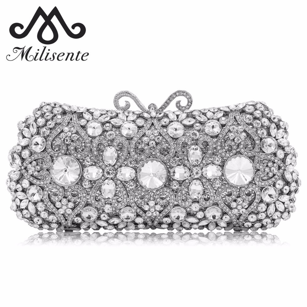 цены Milisente Women Evening Bags Flower Full Crystal Clutch Silver Party Purse Female Clutches Ladies Wedding Bag With Long Chain