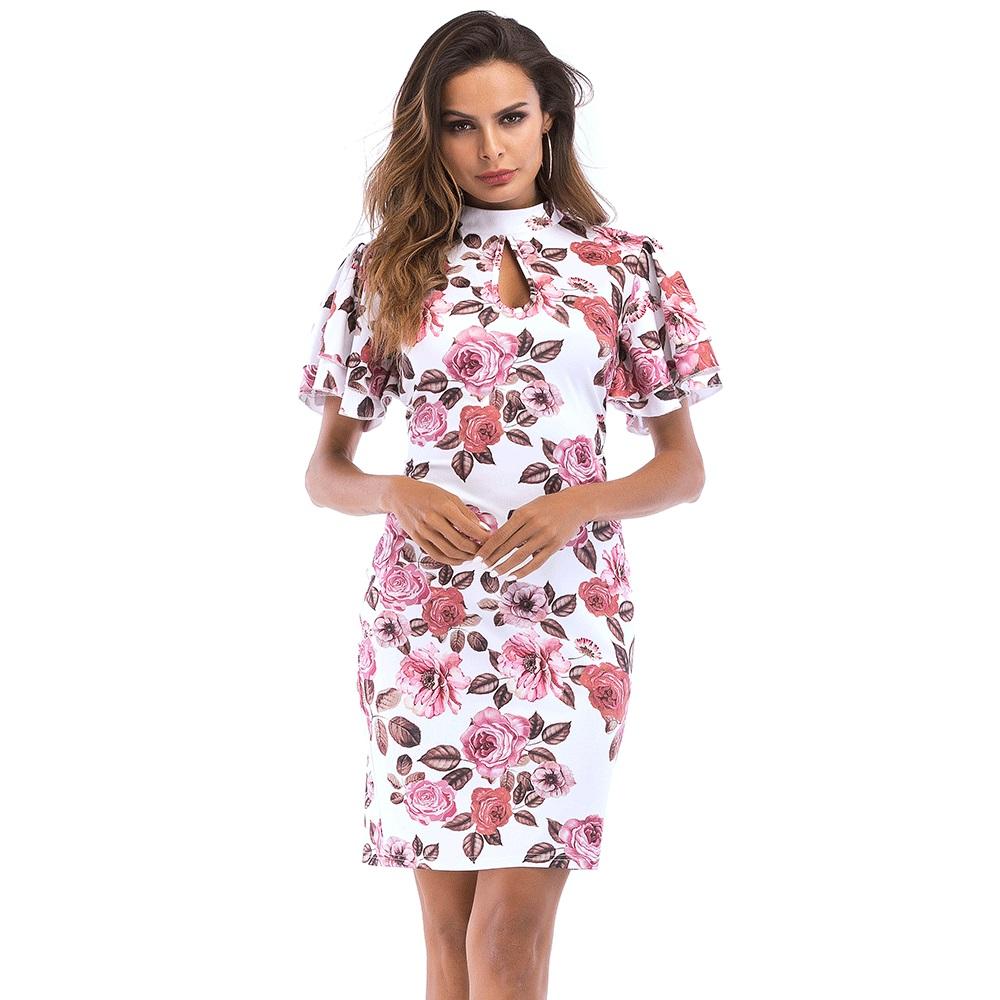 2018 New Womens Printed dress Standing collar Speaker Short sleeve Self-cultivation Casual dresess Office Elegant Summer dress ...