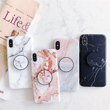 Soft Marble Patterned Case with Stand For iPhone 6 6S 7 Plus Phone Holder Matte Silicone Cover 8 X XS MAX