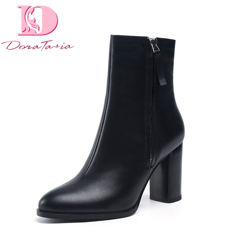 DoraTasia Brand New natural cow genuine leather high Heels party women Boots Shoes fashion elegant Ankle Boots Shoes Woman