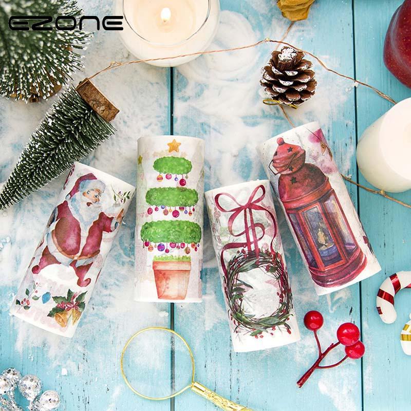 EZONE 1PC Japanese Paper Decorative Adhesive Tape Watercolor Christmas Series Washi Tape Masking DIY Scrapbooking Stickers Tape bulk christmas trees washi tape set of 12pcs fun versatile and decorative craft tape card making