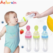 Aelorxin 1Pcs Newborn Silica Gel Feeding Bottle with Spoon Food Supplement Baby Infant Rice Cereal