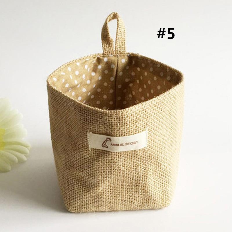 Hot New Stripe Small Storage Sack Cloth Hanging Non Woven Storage Basket Bag