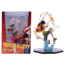 18 CM Anime One Piece Monkey D Luffy Battle Ver PVC Action Figure Doll Collectible Model Baby Toy Christmas Gift For Children 8 66statue one piece the straw hat pirates monkey d luffy vs rob lucci gk action figure collectible model toy 22cm box d822