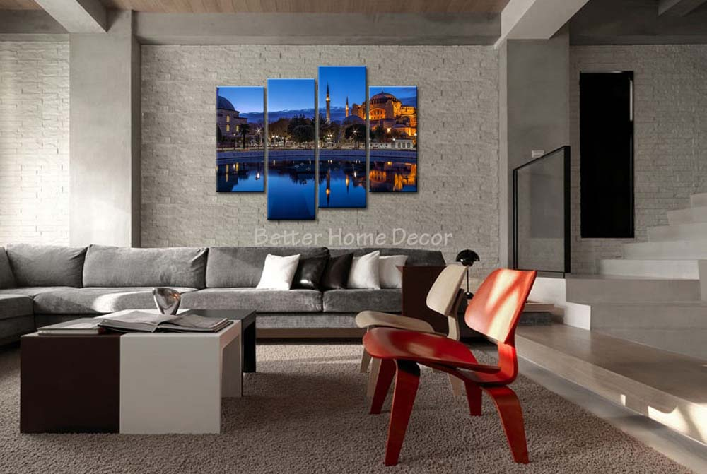 3 Piece Wall Art Painting Istanbul Building Reflection In Lake Print On Canvas The Picture City 4 5 Pictures Calligraphy From Home Garden