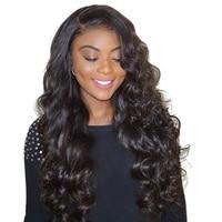 13 х 6 часть Синтетические волосы на кружеве натуральные волосы парики для женский, черный 250% плотность объемная волна Синтетические волосы