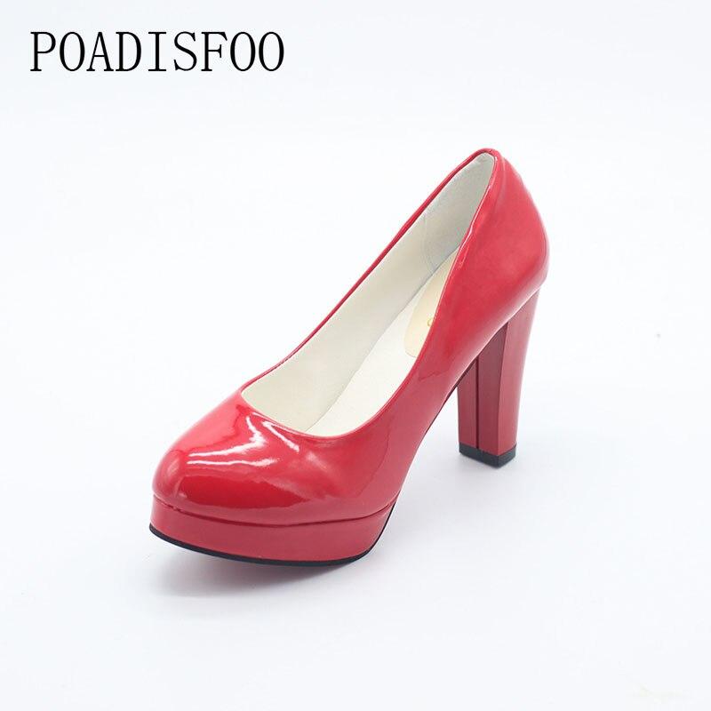 POADISFOO NEW Plus size women pumps OL shoes 5 color 35~42  Waterproof  pumps Shoes Bridal Shoes .DFGD-F-2 oulin ol 357 f