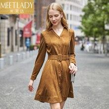 2018 women's clothing fashion dresses female lantern sleeves slim belt autumn new V-neck  high waist long sleeved dress female