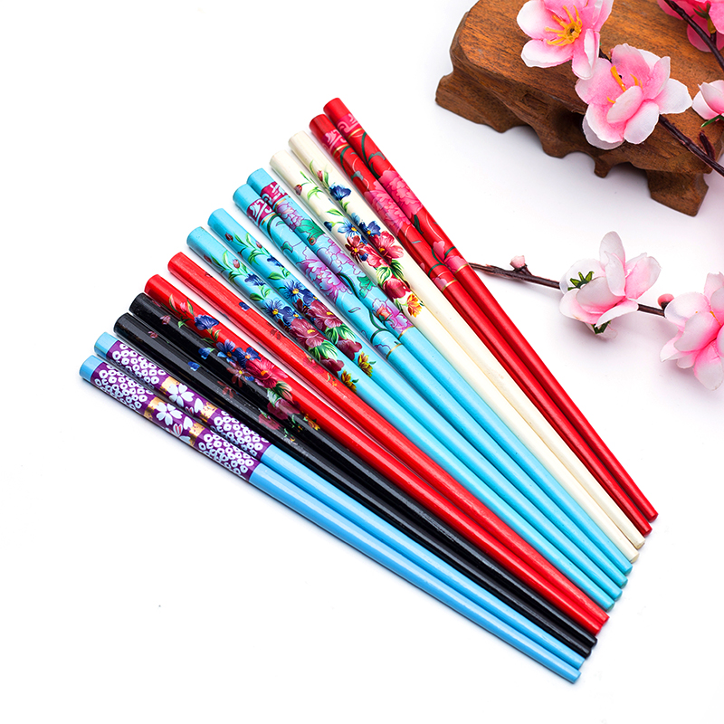 Handmade Hairpin Natural-Wood Japanese Vintage Women Painting For Colorful 2pcs/Set