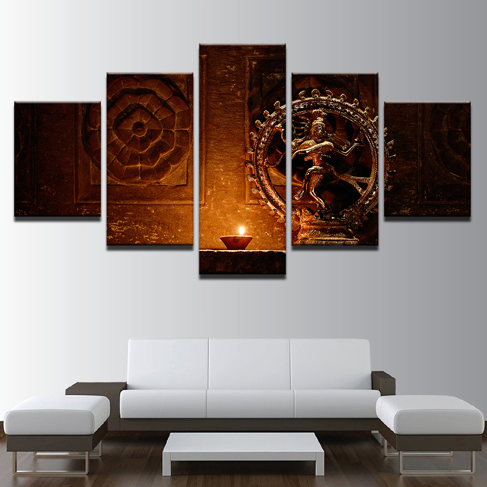 Canvas Paintings Wall Art Hd Prints 5 Pieces Shiva Nataraja Statue Poster India God Vintage