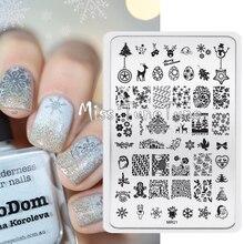 Xmas Designs Stamping Plate Nail Art Template Stamping Image Transfer Printing Tool MR01 Santa Claus Snowflake Reindeer Tree