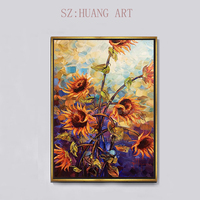 Sunflower modern abstract art installation yellow chrysanthemum knife flower oil painting wall decoration apple still life paint
