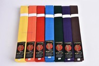 Tokyodo karate colorful belts red yellow blue orange green purple white belts embroidered name and words Katate training belts