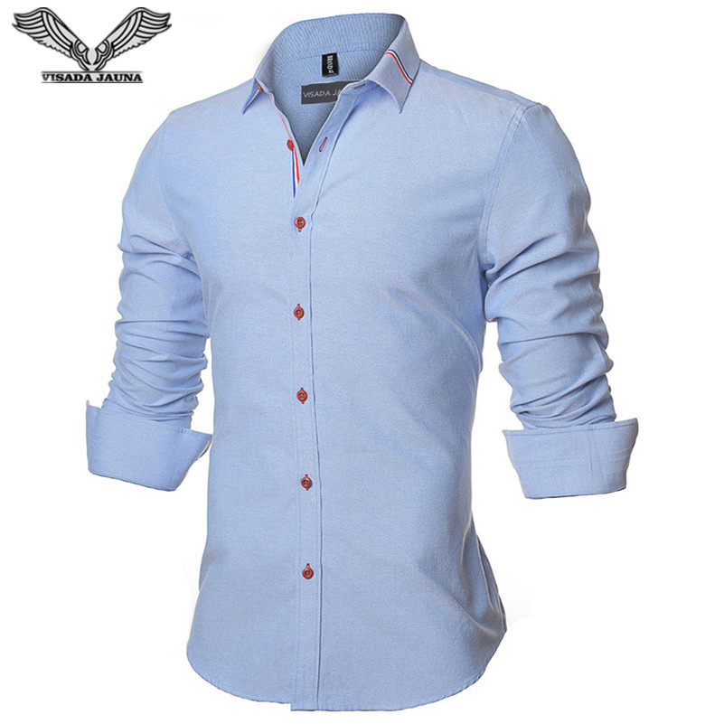 VISADA JAUNA 2017 Neue Männer Hemd Einfarbig Langarm Lässige Marke - Herrenbekleidung - Foto 2