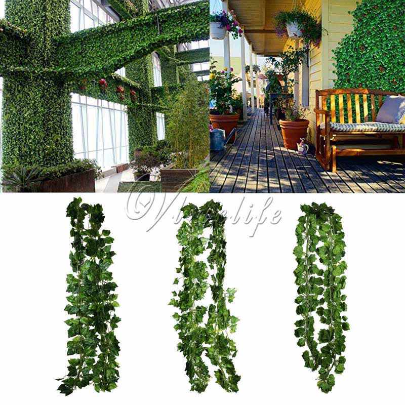 1 stuk 2.3 m Groene Kunstmatige Planten Sleaf Rohdea Druif Klimop Wijnstok Fake Gebladerte Voor Wedding Party Garden Indoor/ outdoor Home Decor
