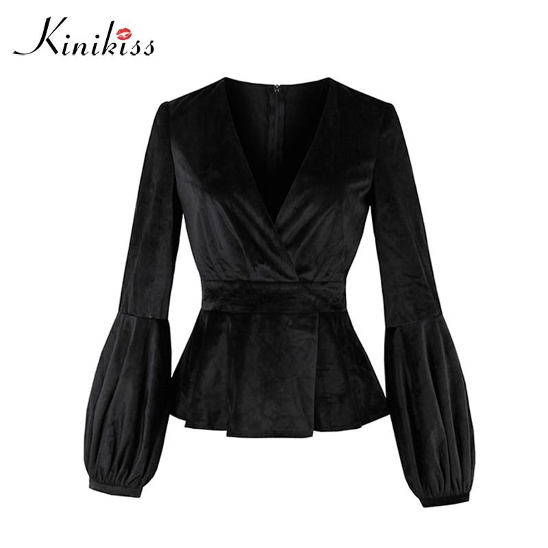 Kinikiss Black Elegant Velvet Jacket Tops Lantern Long Sleeve Women Autumn Gothic V Neck Winter Fashion Outerwear Coats Jackets