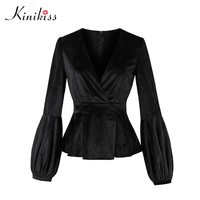 Kinikiss Black Elegant Velvet Jacket Tops Lantern Long Sleeve Women Autumn Gothic V Neck Winter Fashion
