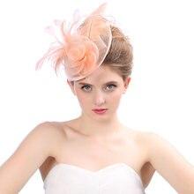Женский головной убор с цветами и перьями Элегантные Свадебные