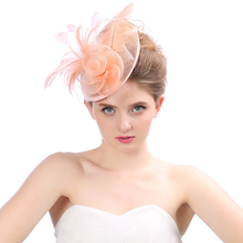Головной убор головные уборы свадебные цветы перо элегантные дамы свадебные и fascinators для женщины Mariage свадебные аксессуары в наличии