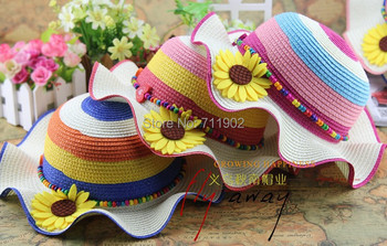 2015 new style 10pcs free shipping Natural hand-made hand-woven kids straw cap, Wavy  flower girl straw hat, sun hat,