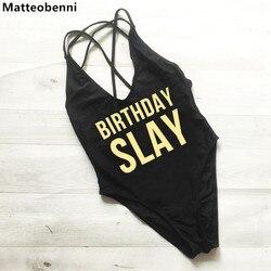 Слей на день рождения, сдельный купальник, сексуальные стринги, купальник для женщин, с высокой талией, купальный костюм для девочек, с откры... 1