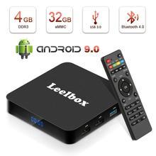 Q4 Leelbox Box 4K TV Rockchip RK3328 Quad Core Mali-450MP2 1000Mbp Android 9.0 WiFi BT4.0 4GB+32GB HDMI2.0 Latest
