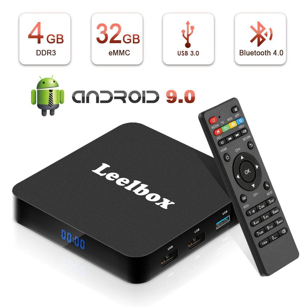 Q4 Leelbox Box 4 K TV Box Rockchip RK3328 Quad Core Mali-450MP2 1000Mbp Android 9.0 WiFi BT4.0 4 GB + 32 GB HDMI2.0 TV Box dernière