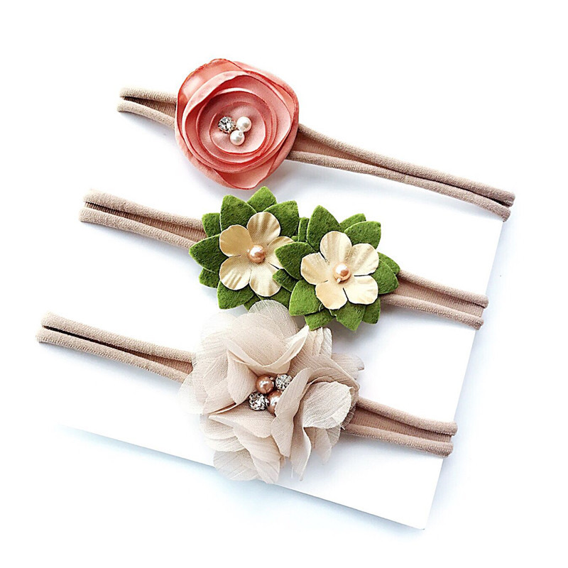3Pcs/Set Ribbon Lace Pearl Flower Rubber Rope Girls Hairband Headband Elastic Head Bands for Baby Girls Kids Hair Accessories retail triple satin flower rosettes feather baby headband vintage burlap lace hairband kidocheese