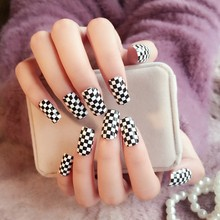 Shine Surface Acrylic Flat Fake Nails Black N White Lattice Board Patterns Long Size Full Nail Tips 24Pcs Z280(China)
