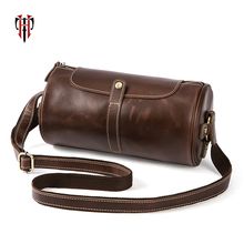 цены TIANHOO cow leather barrel messenger bag man bags corssbody & shoulder bag book/cell phone bags fashion vintage genuine leather