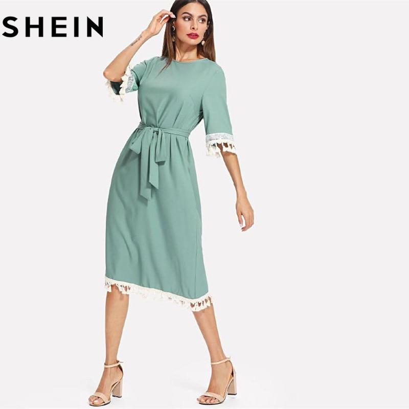 SHEIN Sequin And Tassel Detail Belted Dress Women Round Neck Half Sleeve Dress 2018 Summer Blue Casual Belted Dress