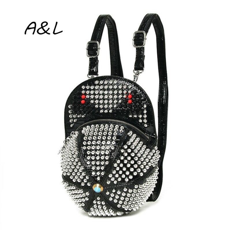 Designer Rivet sacs à dos pour femmes chapeau forme sac à dos Style Punk sacs quotidiens pour filles sac d'école dames sacs à bandoulière Mochila B0335