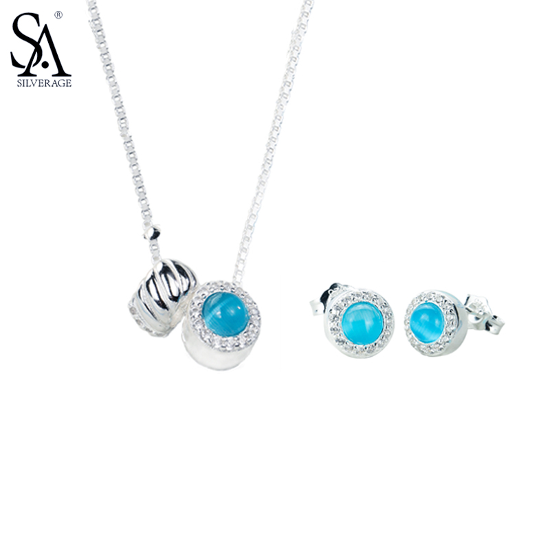 SA SILVERAGE 925 Sterling Silver Round Jewelry Sets For Women Necklaces Pendant Stud Earrings Fine Jewelry Blue 2017 Hot Sale sa silverage genuine 925 sterling silver fine jewelry for women stud earrings black 2018 hot sale