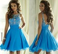 Blue A-Line Mini Cocktail Dresses 2017 Scoop Sleeveless Crystal Beading Backless Prom Dresses Short Party Dresses Custom Made